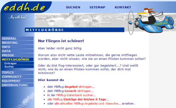 Mitflugbörse Screenshot