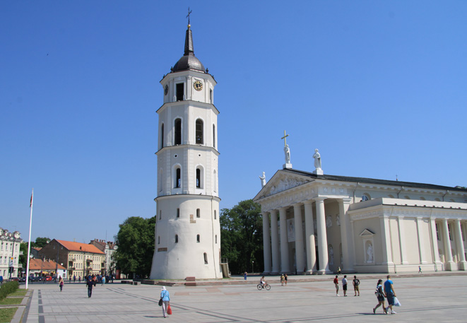 The Cathedral of Vilnius (situated in Old Town)  is the main Roman Catholic Cathedral of Lithuania. There beats  the heart of Catholic spiritual life in Lithuania. During the communist regime the cathedral was converted into a warehouse. In 1989 the status as a cathedral was restored.
