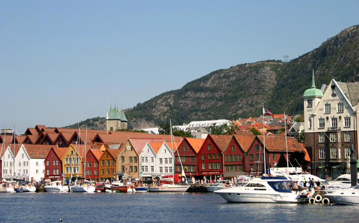 Bryggen is a series of Hanseatic commercial buildings lining the eastern side of the fjord coming into Bergen. Since 1979 it's part of the UNESCO list for World Cultural Heritage sites.