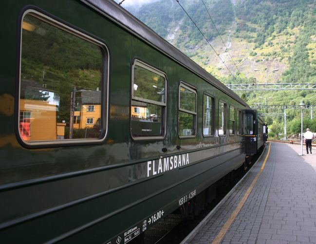 The Flåm Line is a 20.2-kilometer long railway line between Myrdal and Flåm in Aurland. The line's elevation difference is 863 meters (2,831 ft); it has ten stations, twenty tunnels and one bridge. The maximum gradient is 5.5 percent (1:18), making it the steepest standard gauge railway in Europe. Because of its steep gradient and picturesque nature the Flåm Line became the third-most visited tourist attraction in Norway.