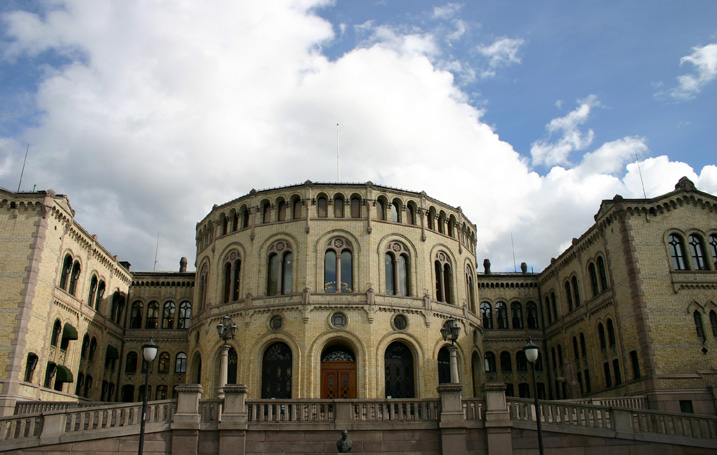 The Norwegian Parliament (Storting) was openes in 1866. The building was designed by the Swedish architect Emil Victor Langlet and is built in yellow brick with details and basement in light gray granite.