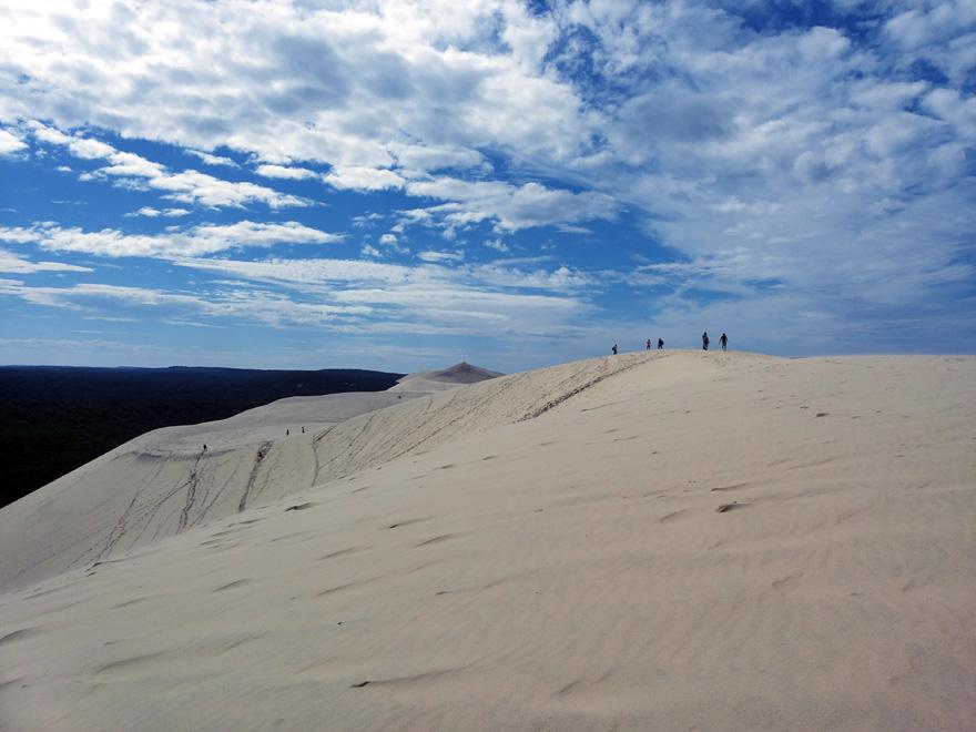 """Dune du Pilat: """"Rheinische Post"""" Wer diese Düne hinauf will, sollte unbedingt schwindelfrei sein, denn an ihrem höchsten Punkt ragt Europas höchste Düne 110 Meter in den Himmel."""