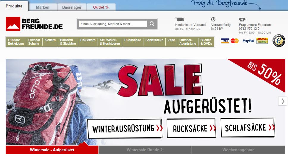 Bergfreunde steht für Klettern und Bergsport. Angefangen hat alles im Jahr 2006 mit zwei Gründern, einem Mitarbeiter und einem Hund auf dem Gelände einer ehemaligen Textilfabrik in Kirchentellinsfurt bei Tübingen. In den vergangenen Jahren wurden mehr als  1.000.000 Bestellungen versandt. Heute sind  rund 100 Mitarbeiter für den Onlineshop tätig.