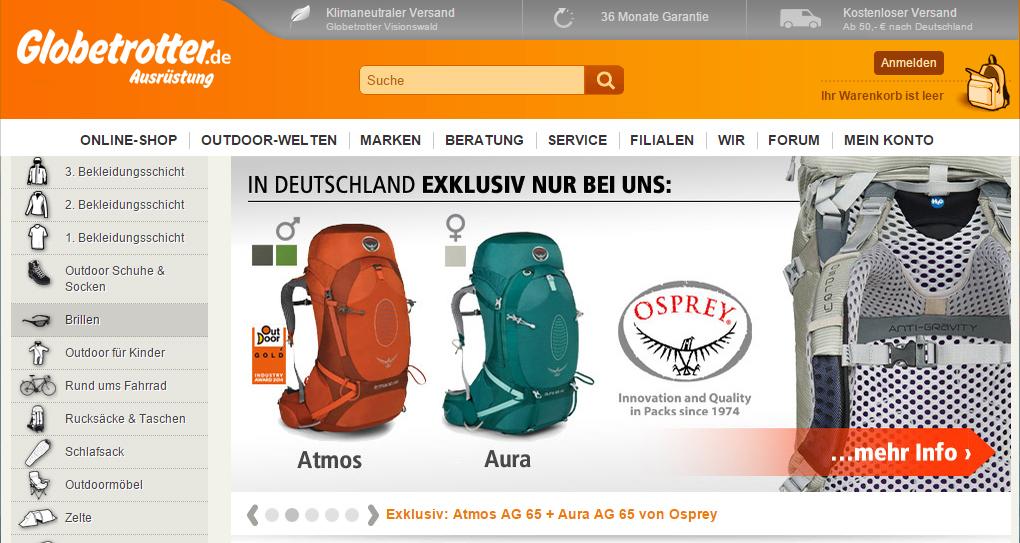 """Globetrotter wurde 1979 in Hamburg als """"Norddeutschlands erstes Spezialgeschäft für Expeditionen, Safaris, Survival, Trekking"""" gegründet und ist inzwischen das führende Fachgeschäft für Trekkingzubehör: Leichtgewichtszelte, Rucksäcke, Schlafsäcke, funktionelle Bekleidung, Kletterausrüstung, Kanus sowie nützliche Kleinigkeiten wie Kocher, Kompasse, Taschenlampen oder Wasserfilter stehen dem Kunden zur Auswahl. Globetrotter beschäftigt in seinen neun Filialen sowie im Versand 1.400 Mitarbeiter. Mehr als 50.000 Artikel von über 800 Marken werden vertrieben."""