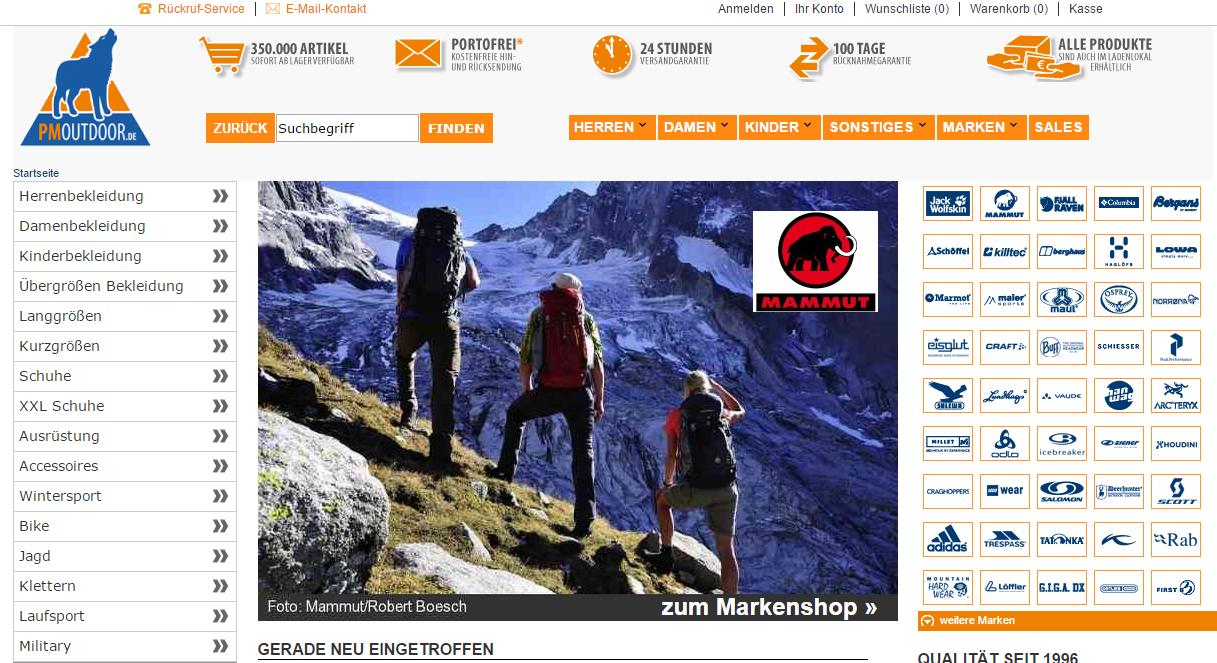 PM-Outdoor ist seit 1996 am Markt (ansässig in Burbach im Siegerland). Rund 350.000 Artikel bekannter Marken zu fast jedwedem Outdoor-Zweck sind  sofort ab Lager verfügbar.
