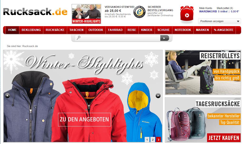 Rucksack ist selbsterklärend bietet aber weit mehr als Backpacks und Taschen - auch Bekleidung, Schuhe und alles drumherum. Am Stammsitz im niedersächsischen Vechta gibt es auch ein ein Ladengeschäft.