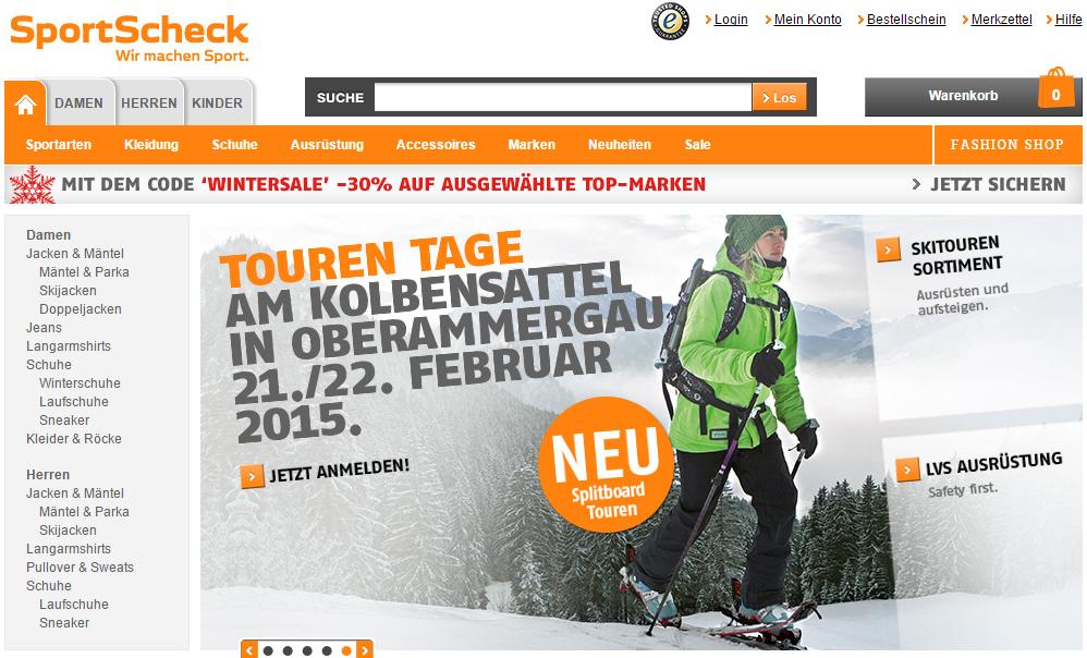 SportScheck geht auf das Jahr 1946 zurück: Als warme Kleidung nicht verfügbar war, schneiderte Otto Scheck in München aus alten Militärbeständen seine erste Kollektion für den Wintersport. SportScheck führt derzeit mehr als 21.000 Artikel von fast 500 Marken. Mit 1,1 Millionen Kunden im Versandhandel, jährlich rund 17 Millionen Besuchern in den Filialen sowie 52 Millionen Visits im Online-Shop pro Jahr ist SportScheck (1.600 Mitarbeiter) einer der  größten Sportartikelanbieter Deutschlands.