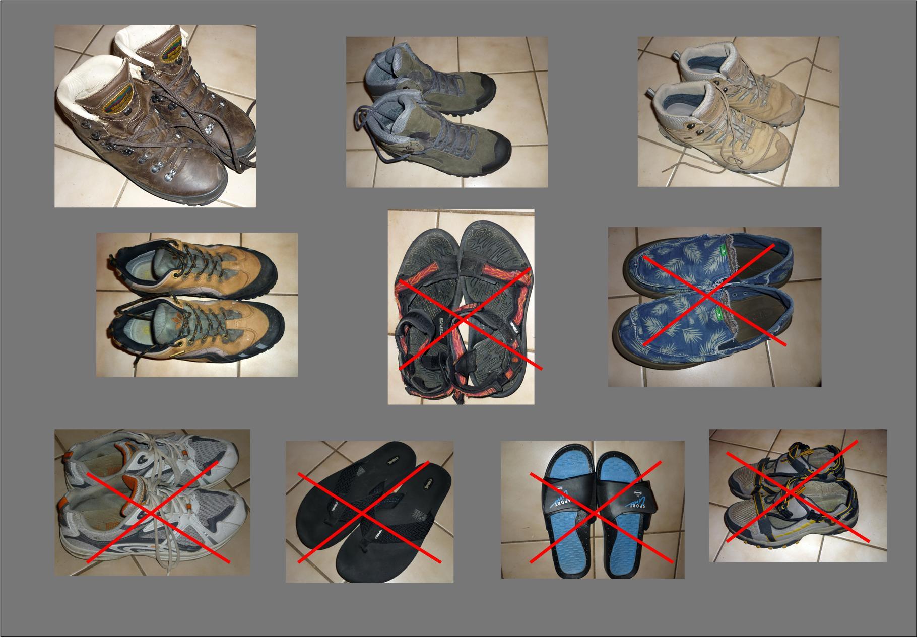 Irgendwie ist jedwedes Schuhwerk irgendwann mal zu irgendwas nütze. Aber ein Irgendwas als Schusters Rappen  taugt nicht, auf längeren Strecken im Gelände unterwegs zu sein. In der allergrößten Not sind  hochwertige Outdoor-Sandalen mehr wert als billige Turnschuhe.