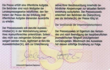 Presseausweis Rückseite 2007