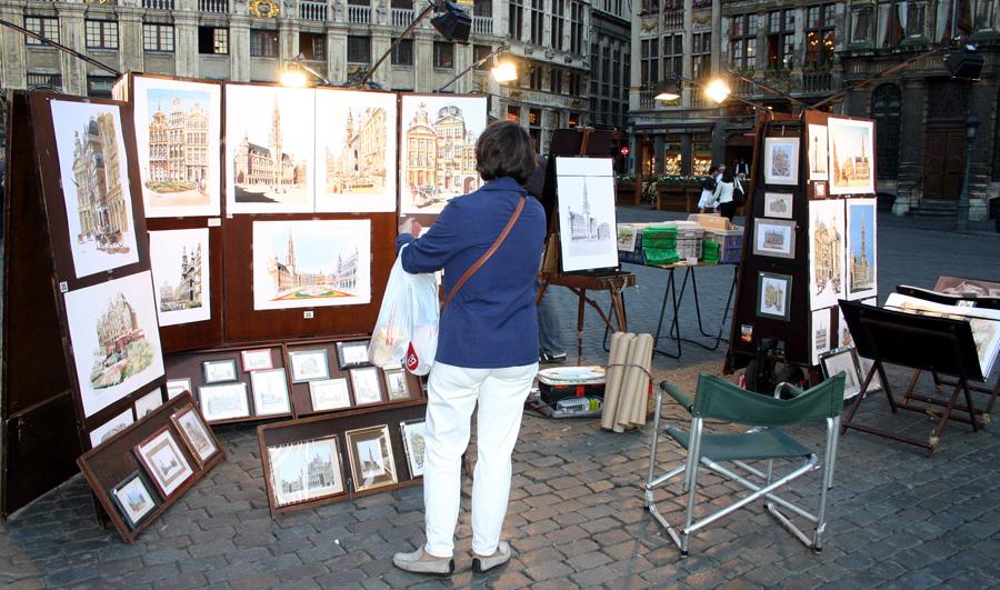 Brüssel am Abend Grote markt