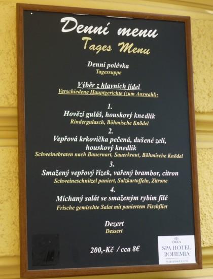 Speisekarte Marienbad